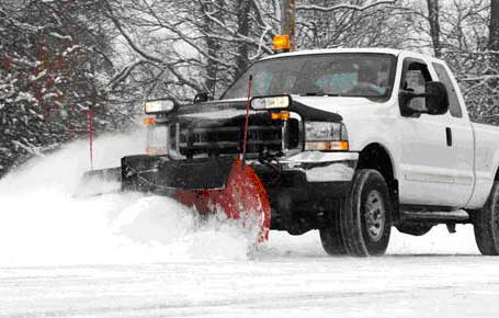 Pickup Truck With Snowplow